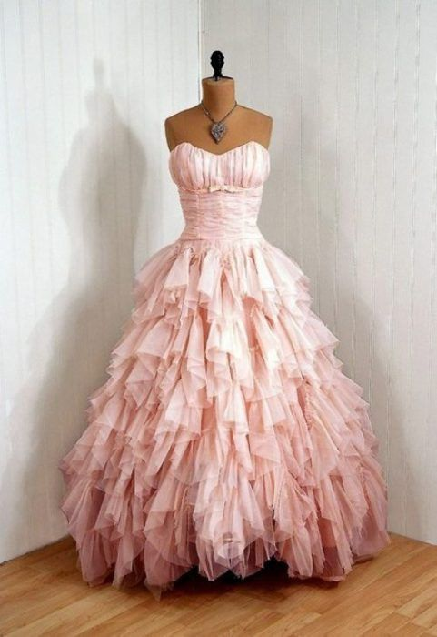 Items Similar To Vintage Champagne Pink Ruched Chiffon Couture Strapless Shelf Bust Bow Draped Tiered Ruffle Rockabilly Princess Circle Skirt Bombshell