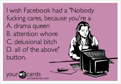 I wish Facebook had a 'Nobody fucking cares, because you're a A. drama queen B. attention whore C. delusional bitch D. all of the above' button.