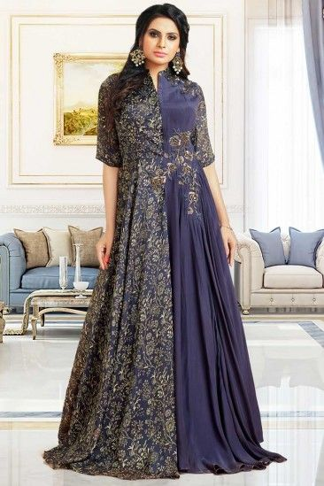 0e9dd4cb456 Shop Newarrival Latest Designer Glorious Satin and silk Anarkali gown in  Independence blue Color with Embroidered - DMV12665 for women online   Designergown ...