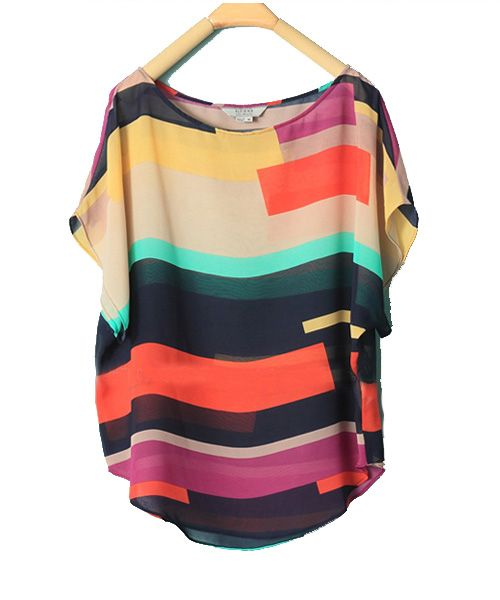 Color Matching Loose Chiffon Shirt