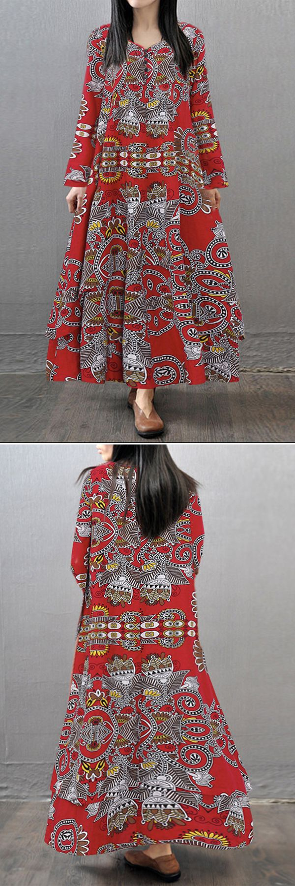 Gracila Women Printed V-neck Long Sleeve Maxi Vintage Dresses