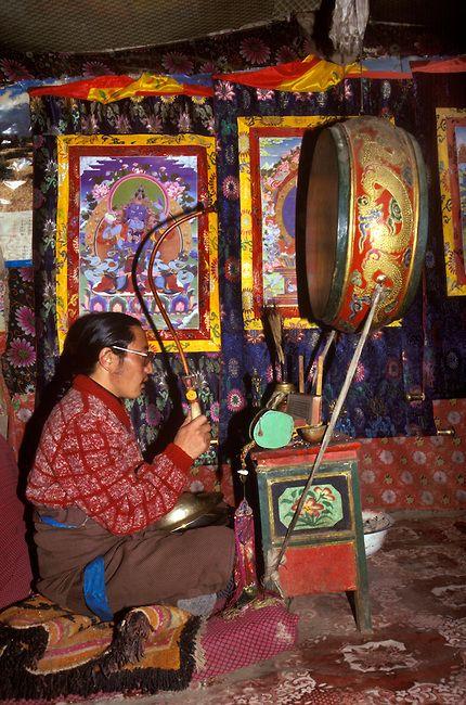 Buddhist Puja . Monastery at Mount Kailash . Tibet