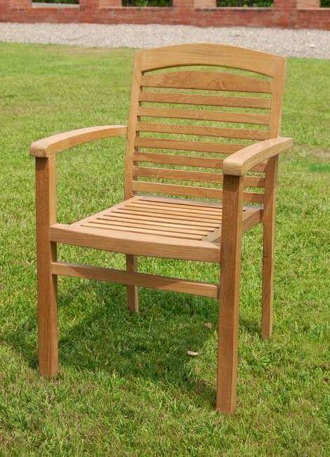 Sill n para exterior teka apilable de bamb blau de for Sillon terraza madera