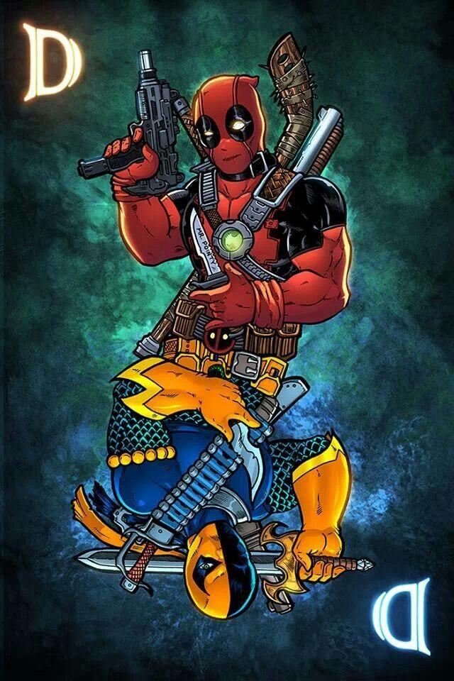 Twice marked for death!! Deadpool and deathstroke flip card By josh c lyman