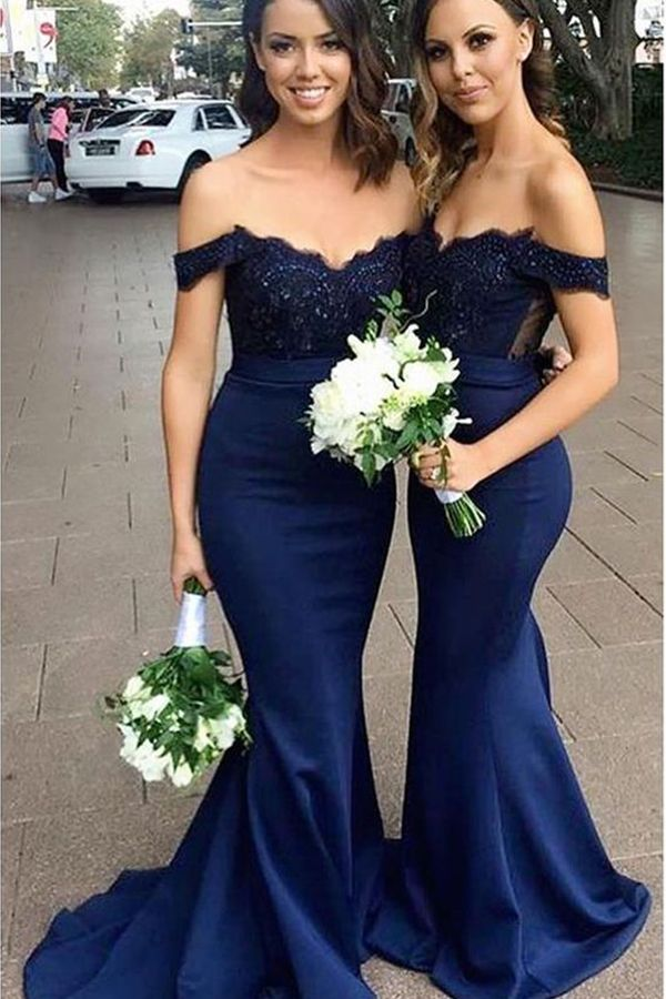 Mermaid Off The Shoulder Long Navy Blue Bridesmaid Dress With Lace Navy Blue Bridesmaid Dresses Long Navy Blue Bridesmaid Dresses Navy Bridesmaid Dresses