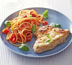 Cheesy turkey Milanese: Coat turkey steaks with breadcrumbs, then grill with  mozzarella, and serve with spaghetti in tomato sauce for a cheap Italian-inspired meal