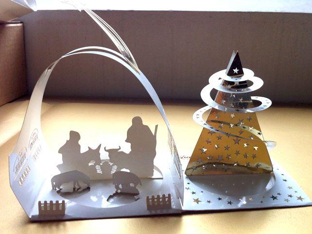 Christmas laser paper cut, capanna e albero di Natale, in cartoncino, cadeau di Natale 2012 ai clienti Enter Print