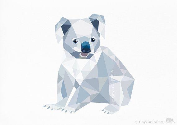 Koala, imprimé géométrique, création originale, animaux art Minimal, publicité, art pariétal pépinière