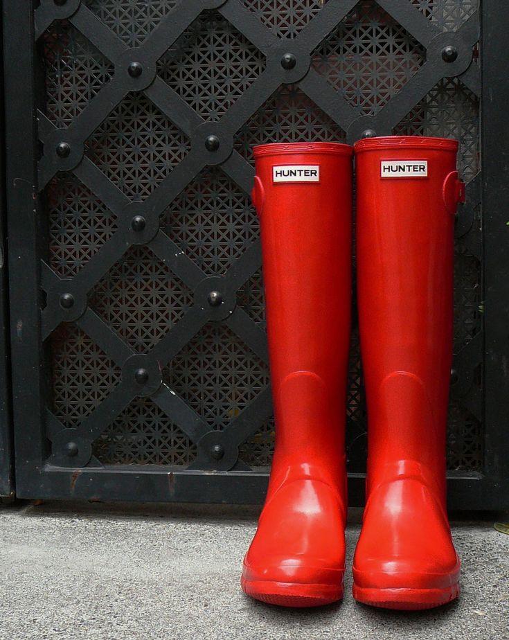 Red Hunter Boots, shapesolefood #Boots  #Hunter