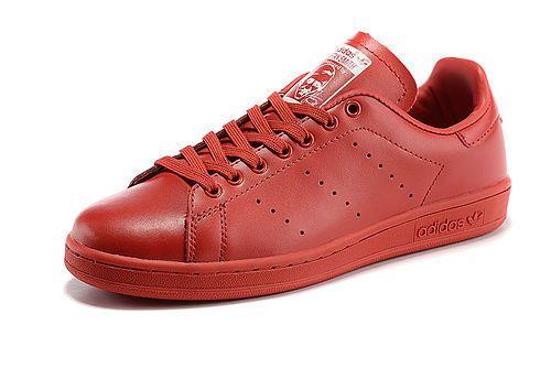 Adidas Stan Smith Red Fashion Skateboarding Shoes  #adidas #RunningCrossTraining