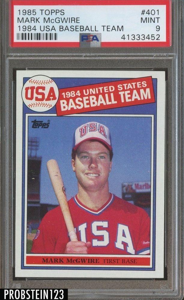 1985 Topps Usa Baseball 401 Mark Mcgwire Rc Rookie Psa 9 Mint Usa Baseball Baseball Card Values Olympic Baseball