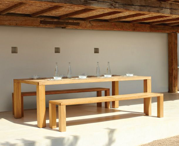 Gloster Square XL garden table, 1x Square garden bench and 3x Havana chairs - 408+405+308W | Reuter Onlineshop