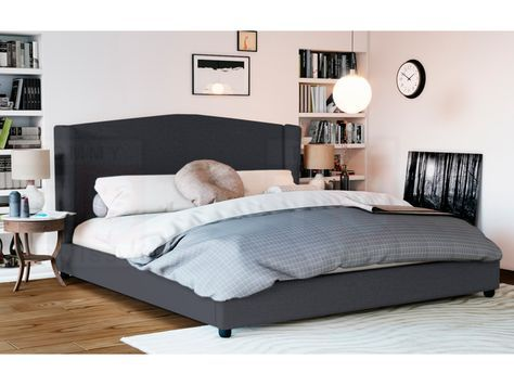 Queen Size Fabric Wing Bed Frame (Tribecca Collection, Dark Grey)