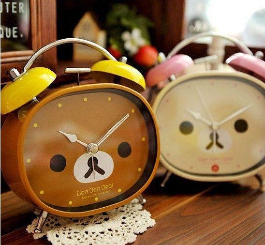 Kawaii Rilakkuma Ben Ben Bear Clock via Etsy