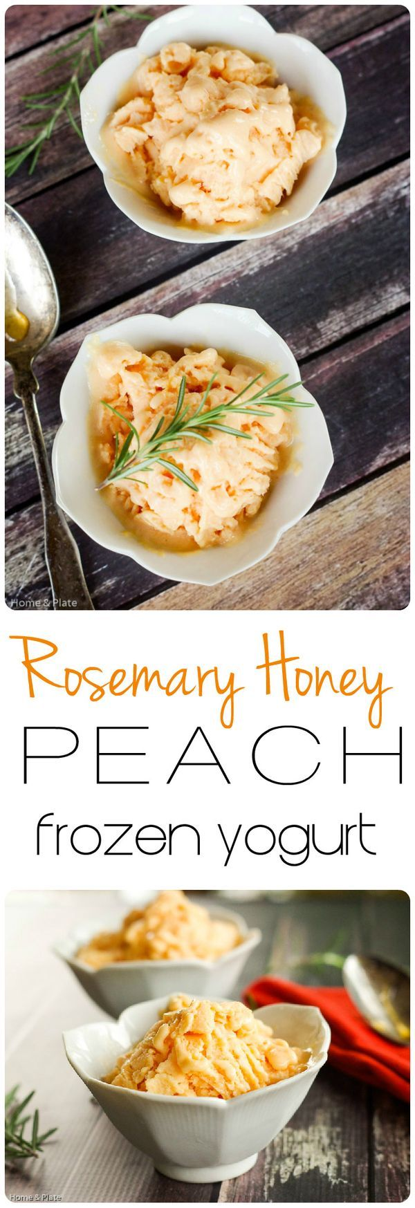Rosemary Honey Peach Frozen Yogurt | Home & Plate | www.homeandplate.com | Rosemary and honey come together in this peach frozen yogurt dessert. #icecream #dessert #healthy