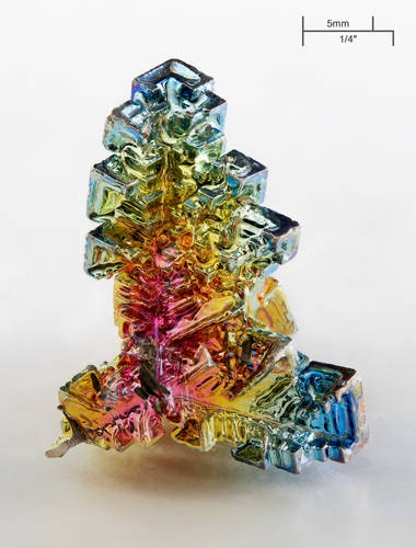 Bismuth, the beautiful colors arise from oxidation at the surface of the crystal