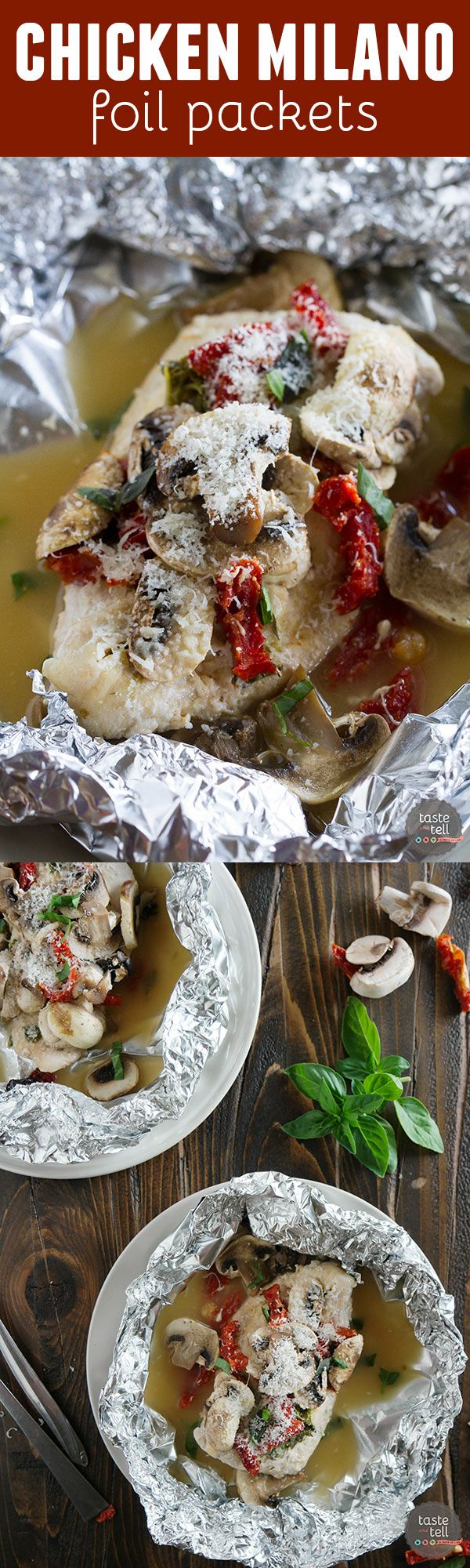 Healthy and fast, this Chicken Milano Foil Packet Recipe is great for a weeknight. The chicken is moist and flavorful, and clean up is a breeze!: