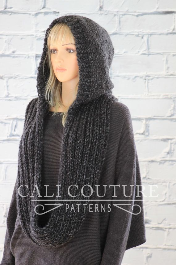 Just in time for Fall the gorgeous and cozy Montreal knit hooded infinity scarf pattern #32 with a delicate hood that can be worn up or down. You will be p