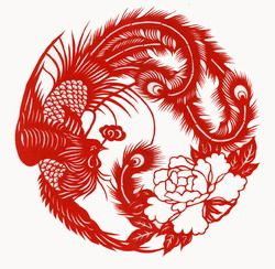 Chinese Paper Cut of Phoenix Red