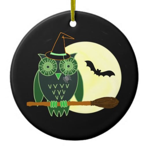 Halloween Owl on a Broom Christmas Tree Ornament