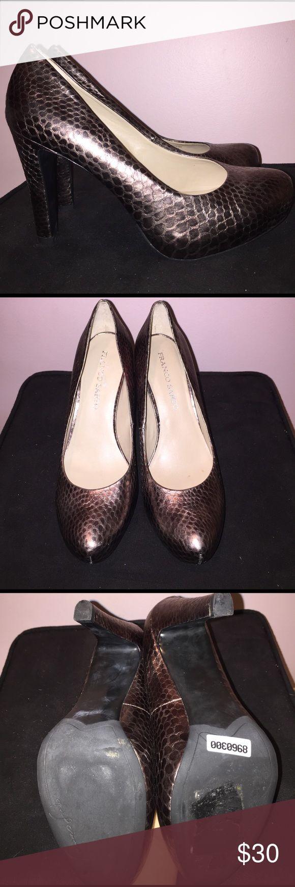 Franco Sarto Snakeskin Heels Franco Sarto Snakeskin Heels. Gorgeous bronze color! Franco Sarto Shoes Heels