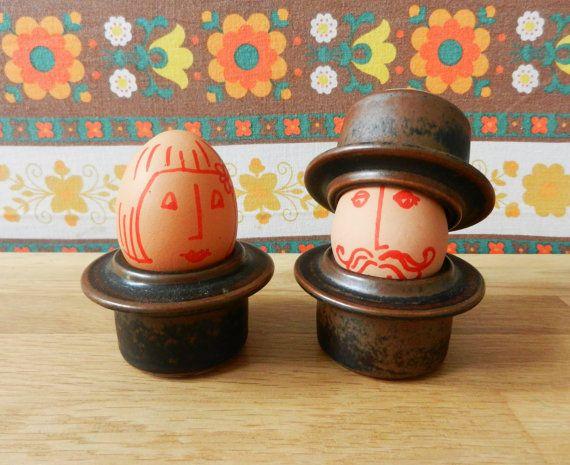 Set of 4 retro rim egg cups Ruska Arabia Finland Ulla Procope Scandinavian 60s op Etsy, 33,68 €