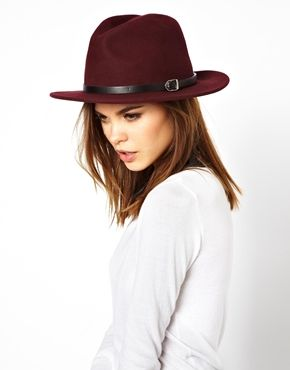 I wish this hat were vegan...meh. French Connection Isabelle Wine Wool Felt Trilby Hat