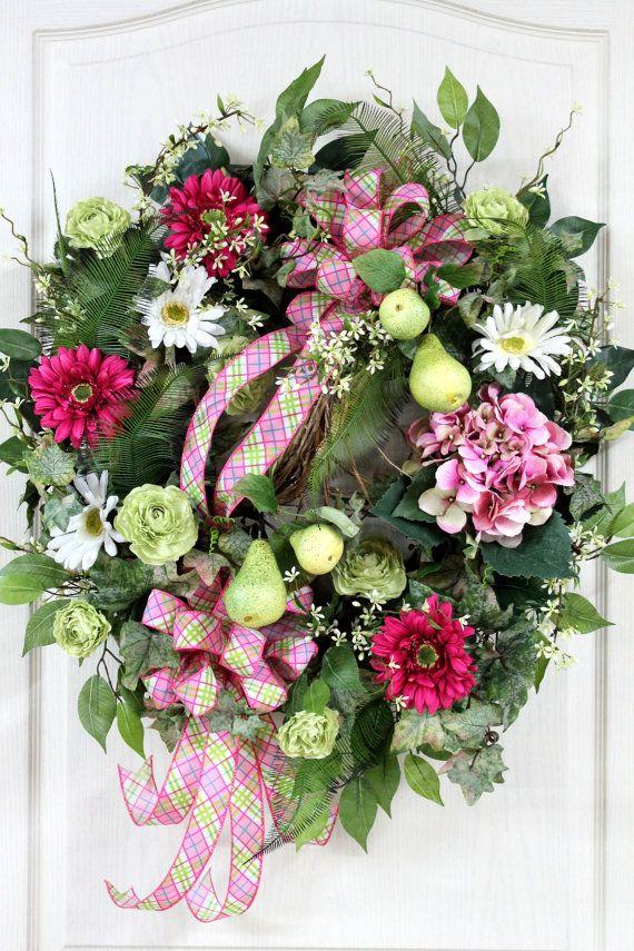 Country Front Door Wreath Spring Door Wreath by FloralsFromHome, $148.00