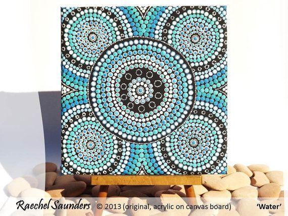 Aboriginal Dot Art Acrylic Painting Blue Decor by RaechelSaunders