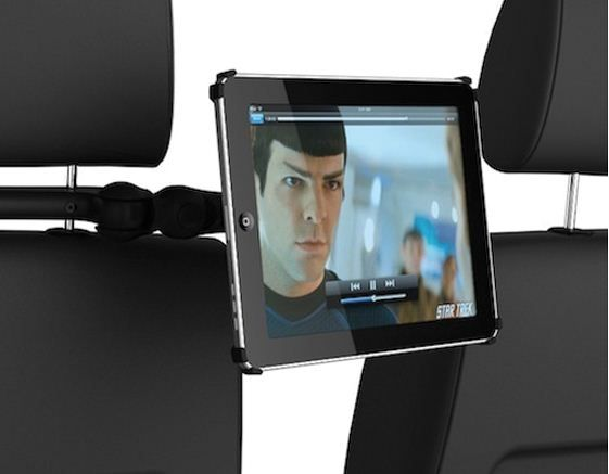 The CoulVue is like other iPad mounts we've reviewed, but where it's different is the adjustability potential and flexibility. The CoulVue's arm folds out, and you can also tilt the screen so everyone in the back seat can see it.