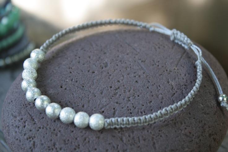 New Silver Beaded Macrame Bracelet,  - charm braclet - frienship bracelet - READY TO SHIP