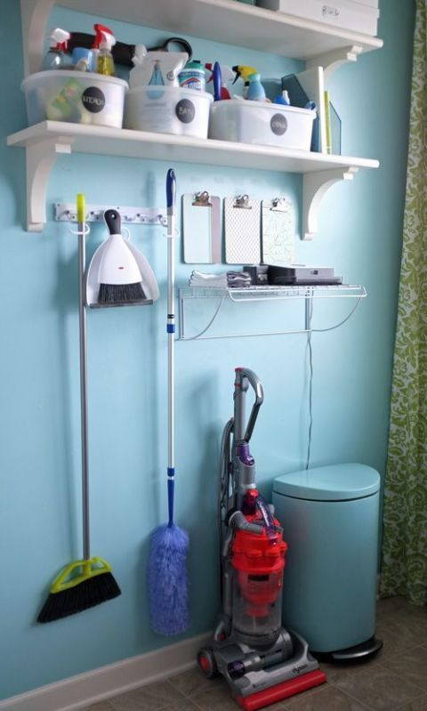 When in doubt, add a few shelves. Then label tubs by room (bathroom, kitchen, you get the picture) so you don't have to sort through multiple containers to find the cleaner you need. Click through for more on this and other ideas for how to organize your cleaners.
