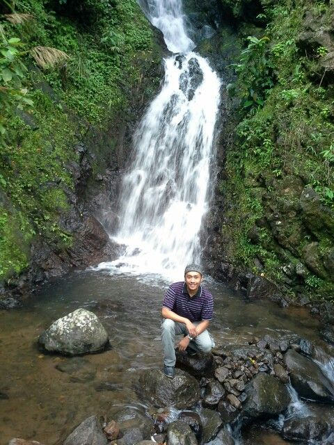 Malino Highland Waterfall 2 - Gowa, South Sulawesi. It's double waterfall in the same place and one short and one high. With beautiful tea plantation around this waterfall.