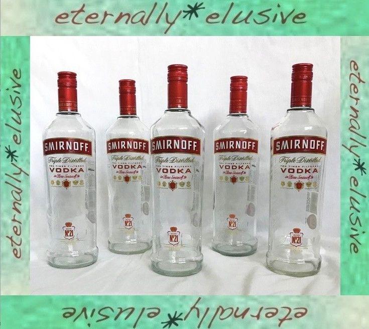 Job Lot of 5 EMPTY 1 Litre 1lt Glass Bottles SMIRNOFF VODKA Red UpCycle Crafts