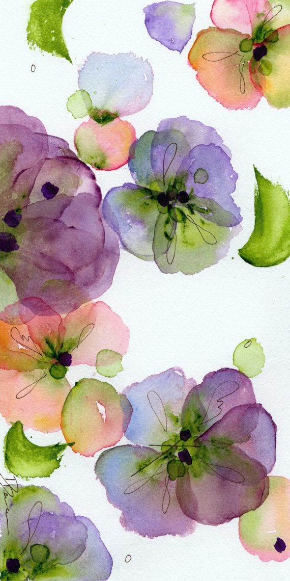 Modern Botanical Art Print Pansy Fall Large by dawndermanart