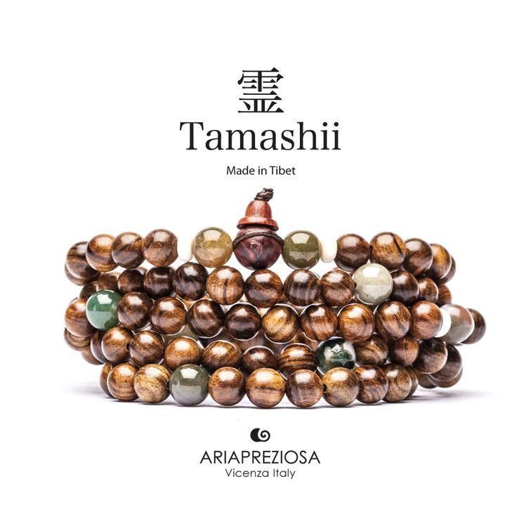 Tamashii - Mala Tibetana in Legno Hua Qi Nanmu profumato e pietre naturali Agata Bianca e Agata Muschiata