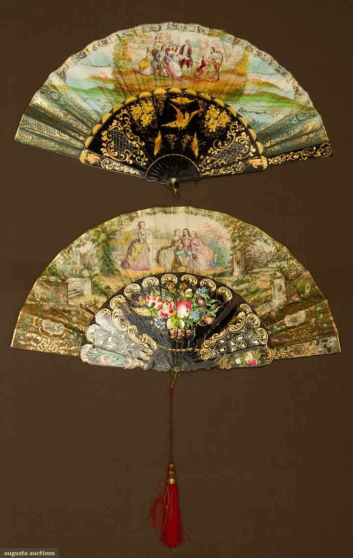 """Two Lacquer Stick Fans, mid-19th century; Both with painted and gilt black lacquer sticks and guards, painted paper leafs and 10.75"""""""