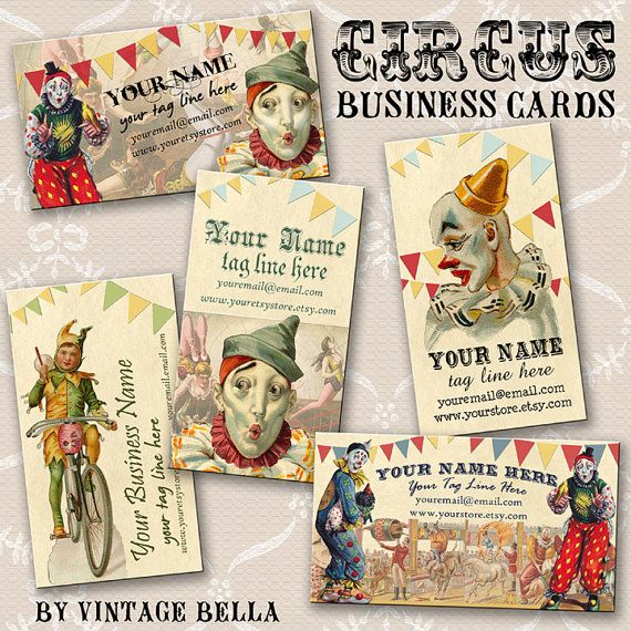 30 best circus business cards images on pinterest fonts items similar to circus clown business cards by vintage bella professionally printed on etsy colourmoves
