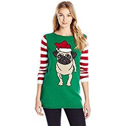 Ugly Christmas Sweater Women's Santa Pug Pullover Sweater, Emerald, Large