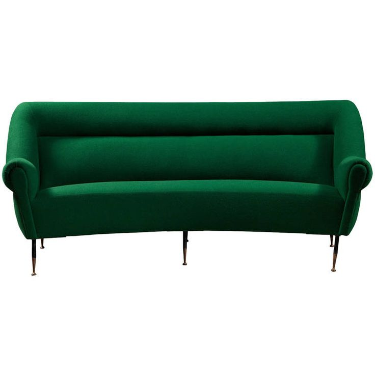 Sculptural Modern Italian Sofa ca.1970, reup'd. In green wool textile | From a unique collection of antique and modern sofas at https://www.1stdibs.com/furniture/seating/sofas/
