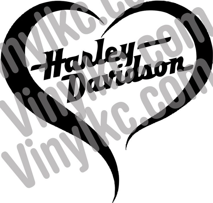 Harley Davidson Motorcycle Heart Decal