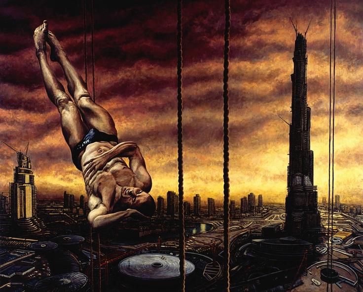 Andrea Zucchi, Dubai Suicide, 2009, olio su lino, cm 120x150.