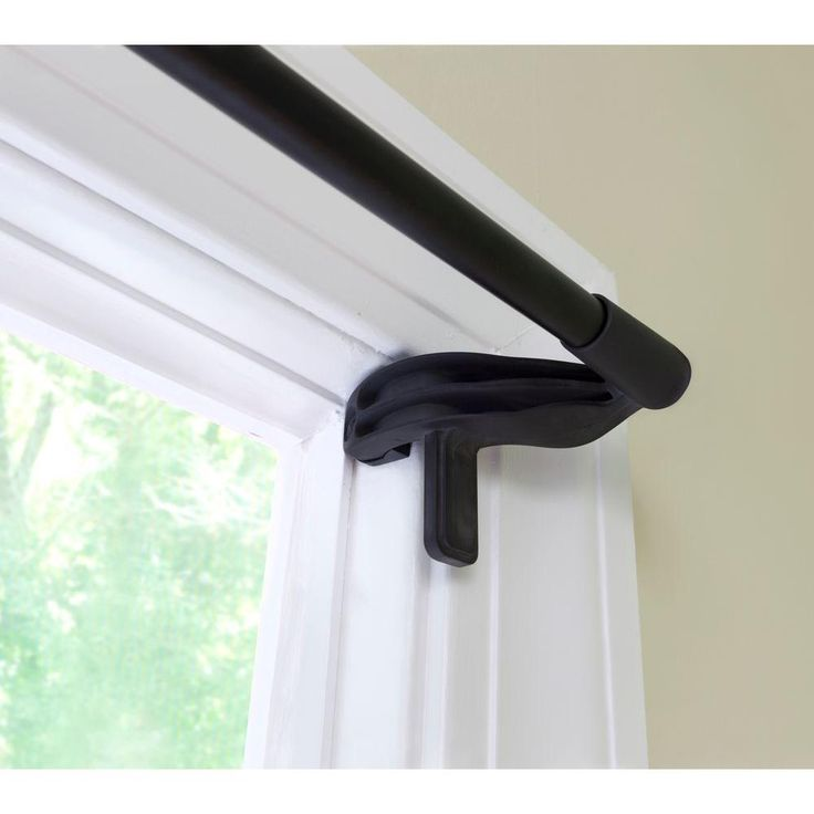 Eclipse 28 in. - 48 in. Telescoping 5/8 in. No Tools Room Darkening Curtain Rod in Black