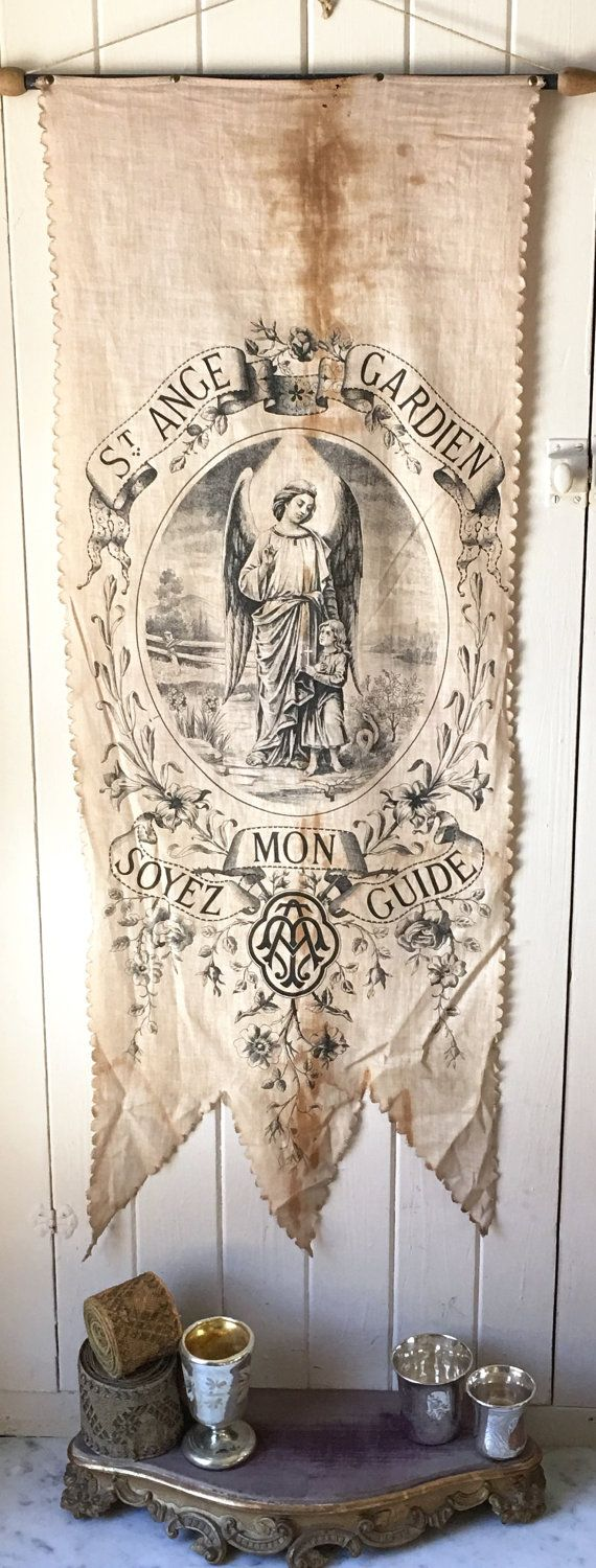 1800s antique French religious banner Winged by histoireancienne