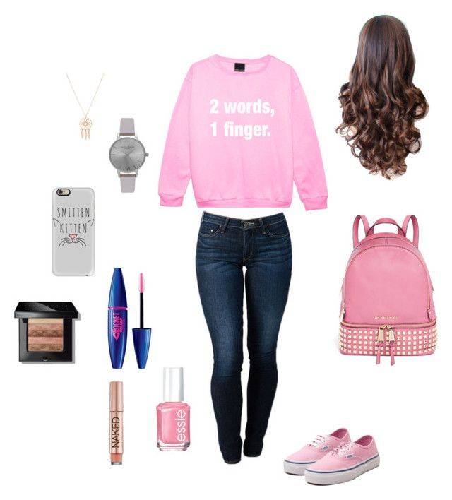 """""""on wednesday we wear pink- back to school outfit"""" by adrianaadd on Polyvore featuring moda, THVM, Vans, MICHAEL Michael Kors, Casetify, Olivia Burton, Anarchy Street, Bobbi Brown Cosmetics, Essie e Urban Decay"""