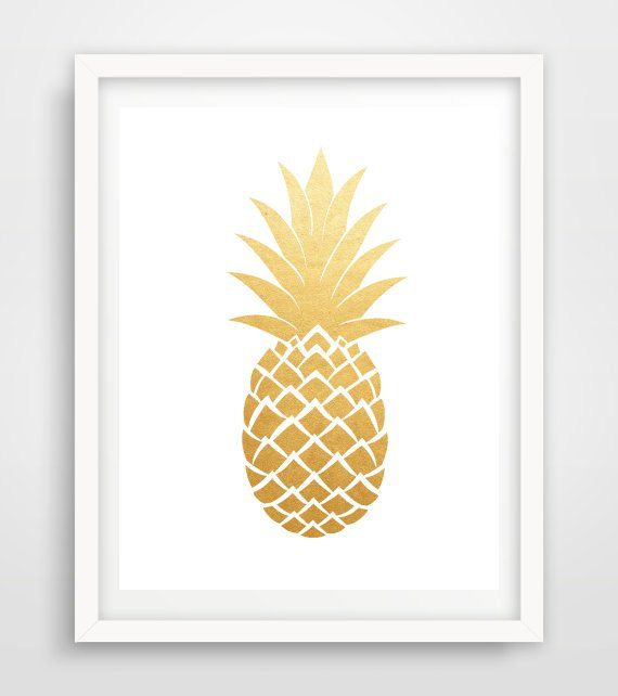 Gold Pineapple Print Printable Art Gold by PaperStormPrints