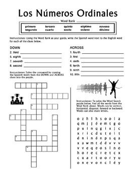 numeros ordinales spanish ordinal numbers 1 10 crossword word search puzzles spanish the. Black Bedroom Furniture Sets. Home Design Ideas