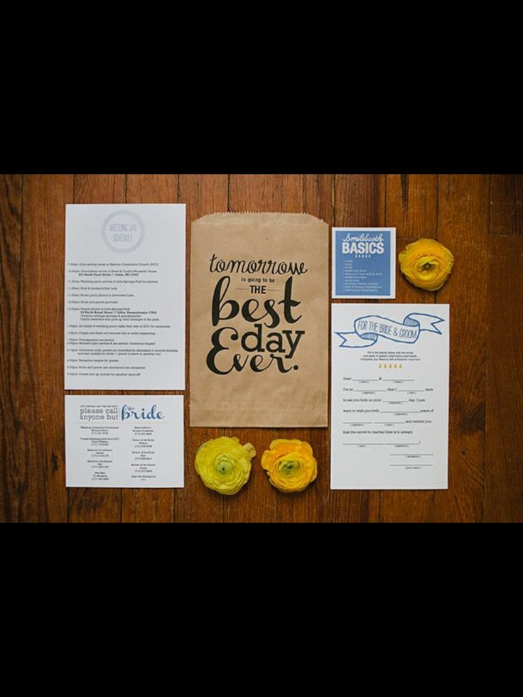 creative wording for rehearsal dinner invitations%0A Creative Wedding Rehearsal Dinner Invitations  Invitation  Best Day Ever  kit with things like a list of phone numbers for emergencies to not bother  the