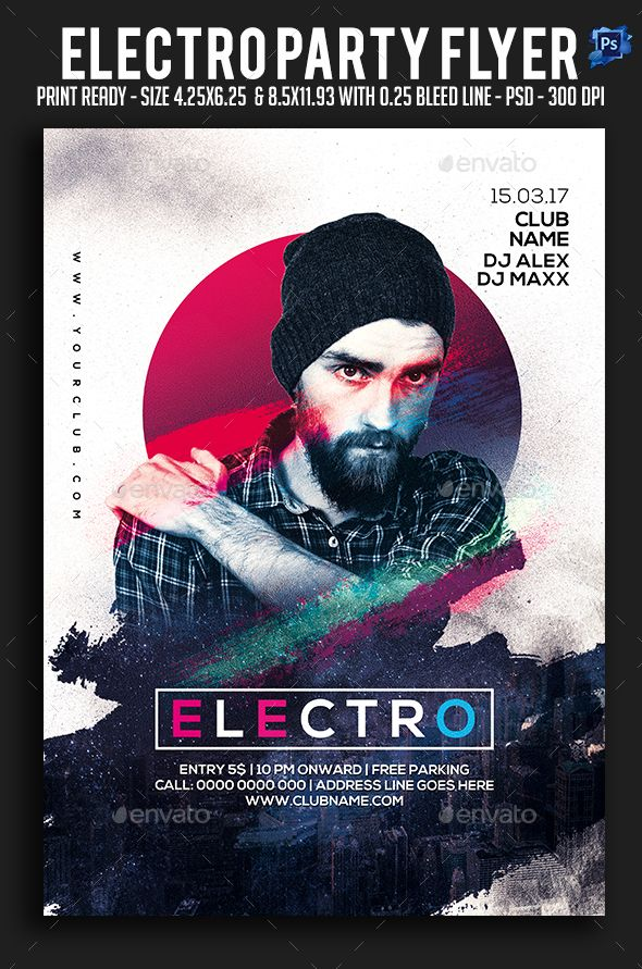 Electro Party Flyer Party Flyer Design Inspiration Pinterest