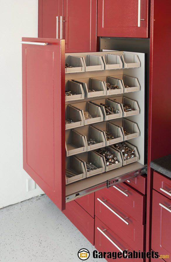Specialty Pull Out Parts Bin Unit Added To Tall Garage Cabinets